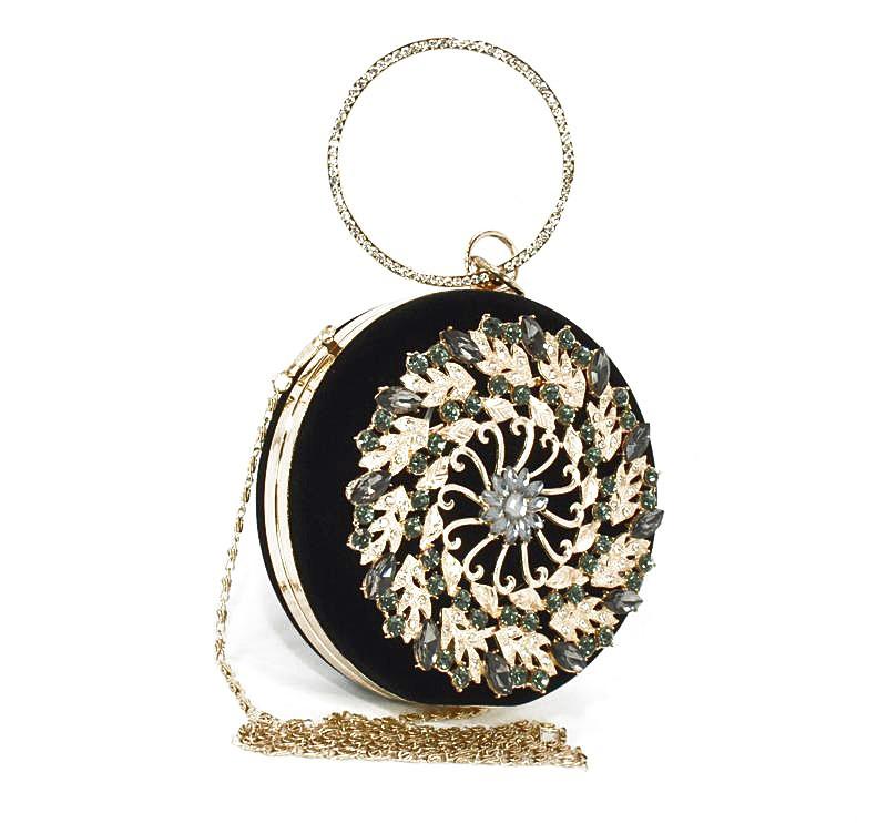 Клатч круглый, сумочка вечерняя женская велюровая черная Rose Heart 00168