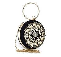 Клатч круглый, сумочка вечерняя женская велюровая черная Rose Heart 00168, фото 1