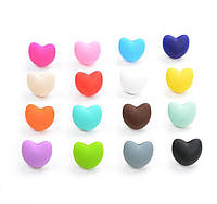 """Силиконовые бусины """"Сердечки"""" 20х17х13 мм разноцветные"""