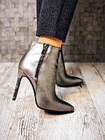 Классические кожаные ботинки на шпильке никель