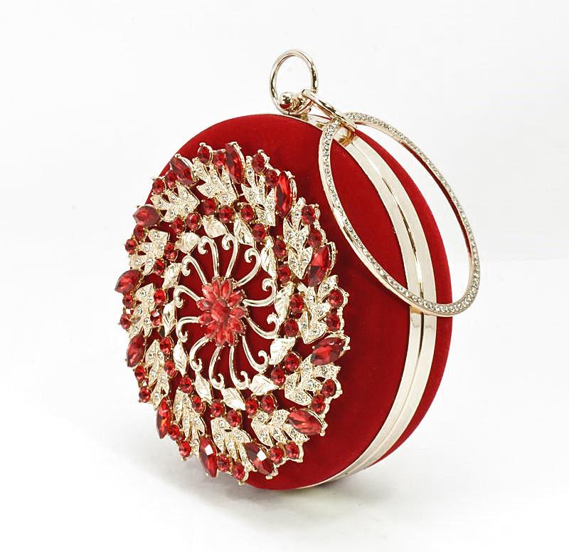 Клатч круглый, сумочка вечерняя женская велюровая красная Rose Heart 00168