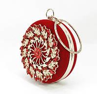 Клатч круглый, сумочка вечерняя женская велюровая красная Rose Heart 00168, фото 1