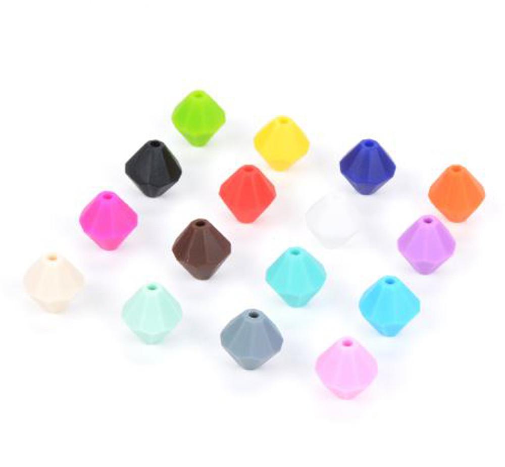 """Силиконовые бусины """"Алмазы"""" 13х13х14 мм разноцветные"""