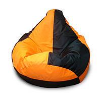 Оранжево-зеленое кресло-мешок груша 120*90 см из ткани Оксфорд оранжево-черное