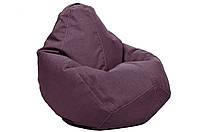 Синее кресло-мешок груша 100*75 см из микро-рогожки джинсовое сиреневый