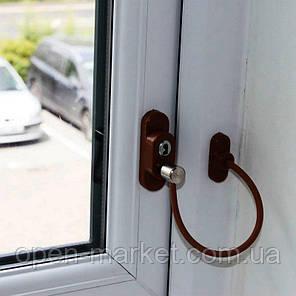 Ограничитель трос на окно, блокиратор открывания, Украина, Пенкид КОРИЧНЕВЫЙ,  PENKID, фото 2