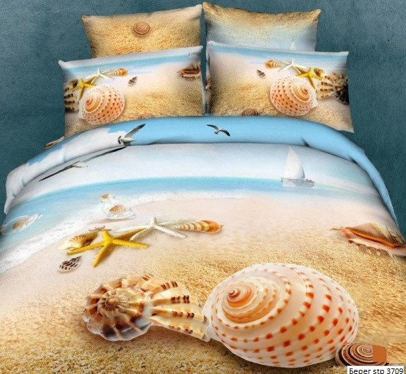 Комплект постельного белья Евро 3D Сатин 200х220 Берег stp 370