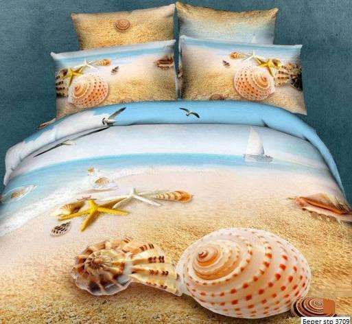 Комплект постельного белья Евро 3D Сатин 200х220 Берег stp 370, фото 2