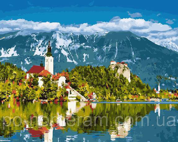 Раскраска по номерам Городок на озере Словения (BRM21801 ...