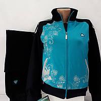 Женский бирюзовый спортивный трикотажный  костюм Соккер, размеры 44, 46, 48, 50, 52.