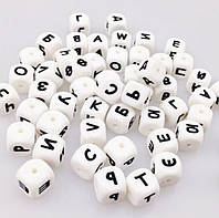 """Силиконовые бусины """"Буквы"""" кубики 12 мм, кириллица, фото 1"""