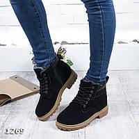 Женские зимние ботинки черного цвета, замш