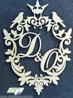 Свадебные гербы с инициалами молодых, рамки, монограммы для свадьбы. Оформление фотозоны, фото 1
