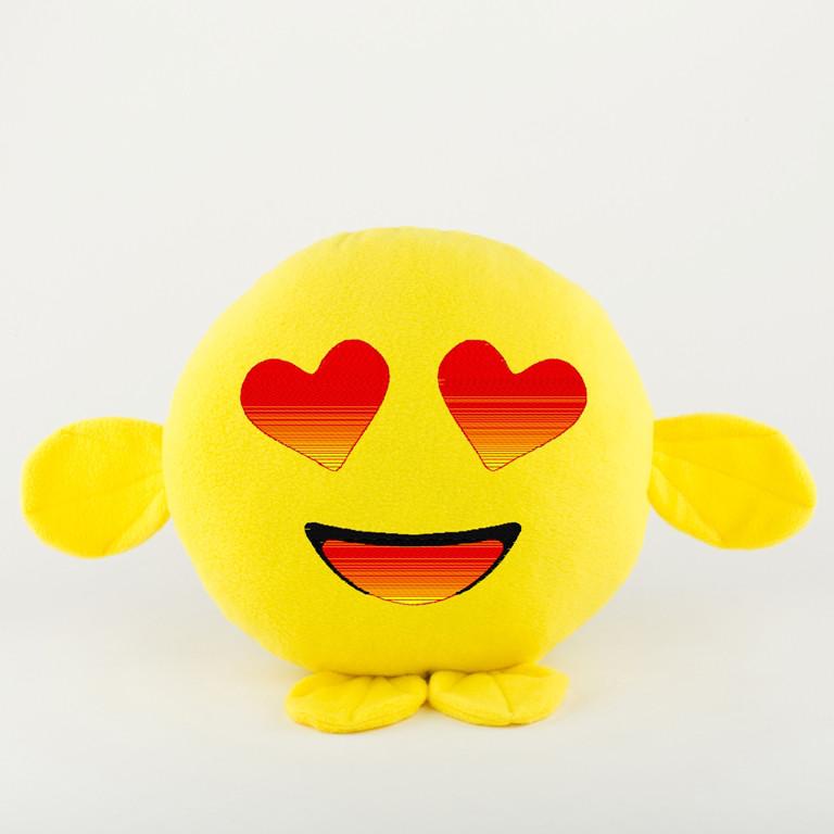 Подушка Смайл Влюблён желтый флок, фото 1