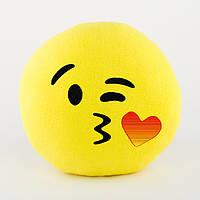 Подушка Смайл Воздушный поцелуй желтый флок, фото 1