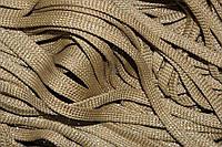 Шнур плоский 8мм (100м) т.беж + серебро
