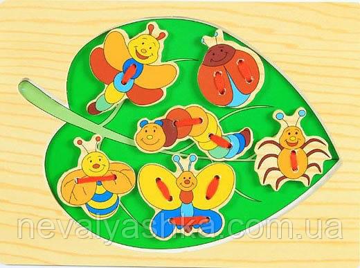Деревянная игрушка Шнуровка листок Насекомые Дерев'яна Шнурівка, MD 0290, 000403