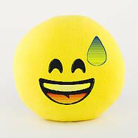 Подушка Смайл Радость в холодном поту желтый флок, фото 1