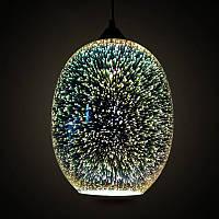 Подвесной светильник 3D овал QUANTUM Horoz Electric 40w хром