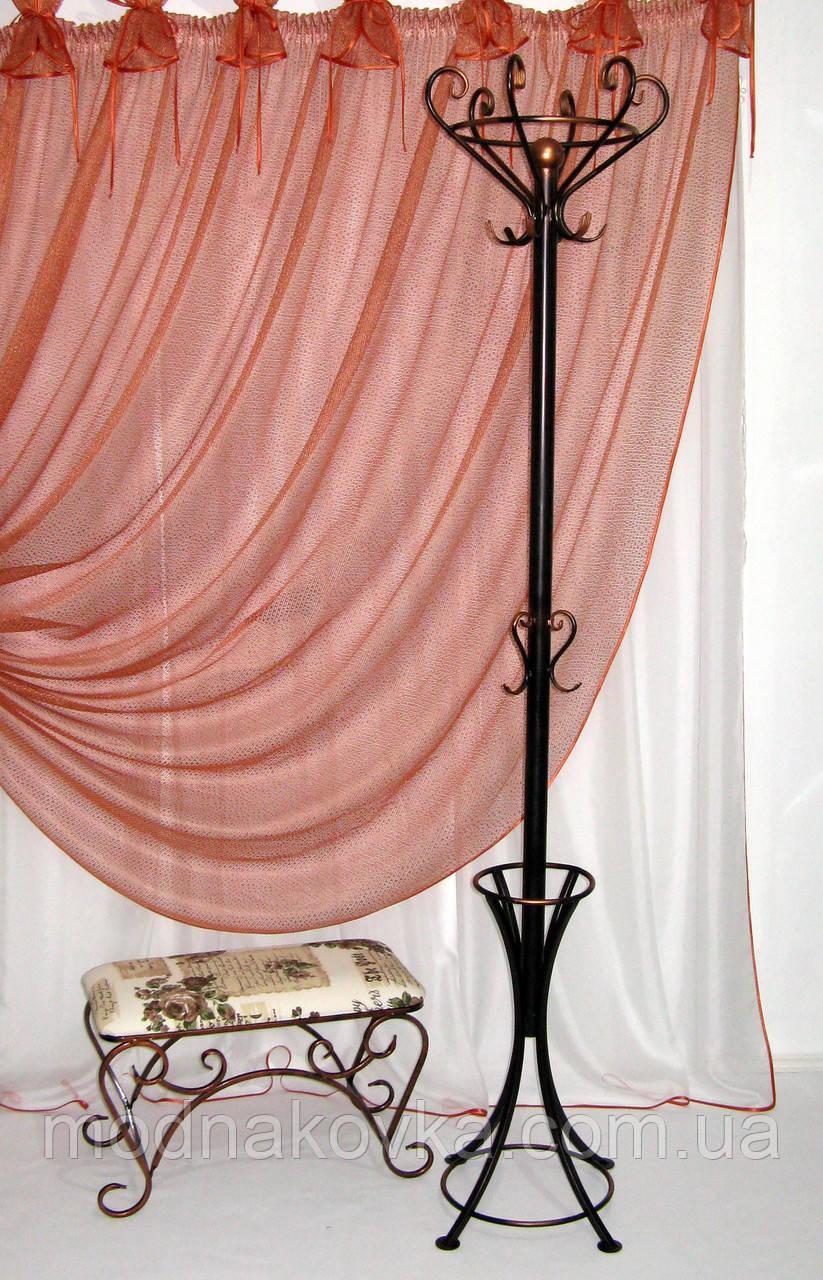 Вешалка кованая напольная с зонтовницей, бронза