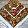 Белый женский платок с яркими цветами (120х120см, белый, 80%-шерсть)