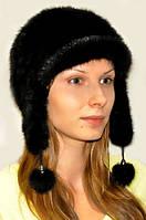 Шапка-ушанка женская из меха норки натуральная., фото 1