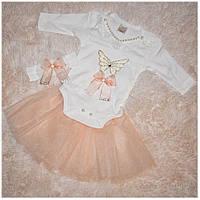 Костюм для девочки боди с юбкой и повязка WAFFLE размер 56 62 68 74