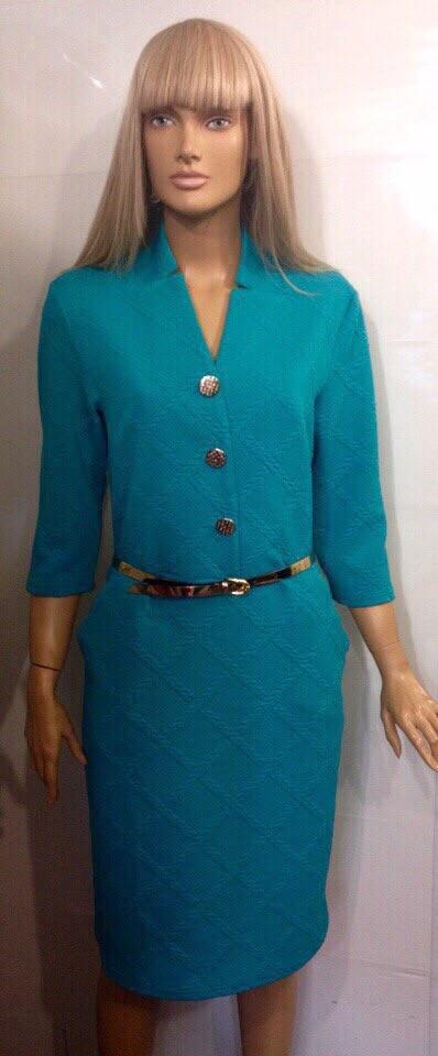 """Уютное женское платье ткань """"Стеганый трикотаж"""" декор пуговки 50, 52, 54, 56  размер батал"""