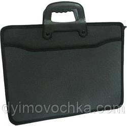Портфель пластик., 2 від, 1 бок.карман, з ручками, 37*28cм, чорний, Арт.419 Імп