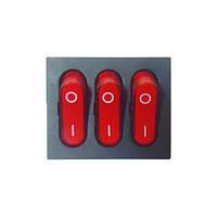 Кнопка тройная на девять контактов с подсветкой красная