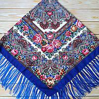 Синий женский платок с цветами (120х120см, синий, 80%-шерсть), фото 1
