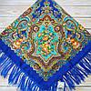 Синій павлопосадский хустку з квітами (120х120см, синій, 80%-шерсть)