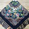 Женский павлопосадский платок с цветами (120х120см, 80%-шерсть)