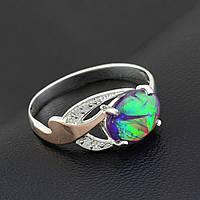 Серебряное кольцо с золотой пластиной, размер 20,опал искусственный фиолет.,вес серебра 1.64г,вес золота 0.05г