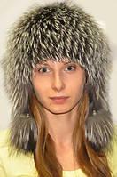 Шапка-вушанка жіноча з хутра чорнобурки натуральна., фото 1