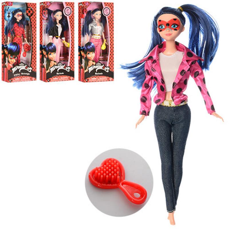 """Кукла Леди Баг базовая шарнирная Miraculous Ladybug из мультсериала """"Леди Баг и Супер-Кот"""", сумочка или расчес"""