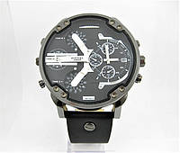 Часы Diesel Brave Oversize Dual Time (Кварц) Black/Silver. Реплика