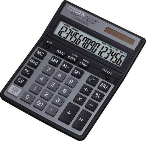 Калькулятор Citizen SDC-760N бухгалтерский 16р, фото 2