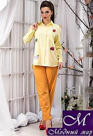 Стильная женская нежно-желтая блуза с нашивками (р. S, M, L, XL) арт.12937