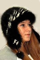 Шапка-ушанка женская из меха норки натуральная.