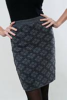 Теплая шерстяная вязаная юбка приталенного кроя р.42-44, ромб серый, код 4743М