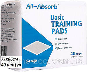 Пелёнки для собак All-Absorb Basic Training Pads 71х86 см / 40 штук