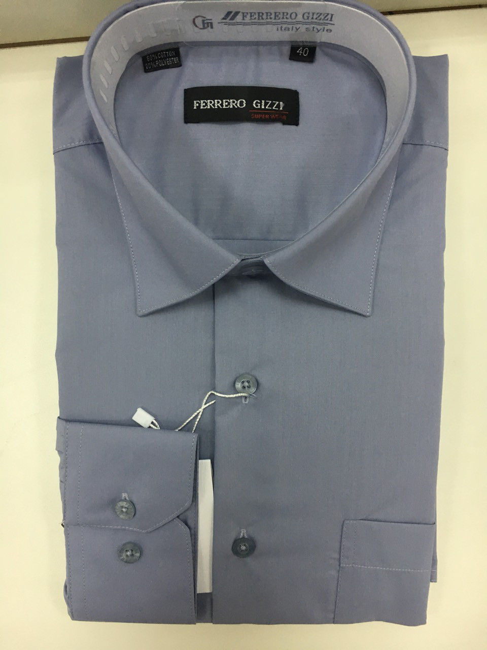 91645013a97d Серая рубашка FERRERO GIZZI (размеры 42,43,44,45,46 + под заказ)