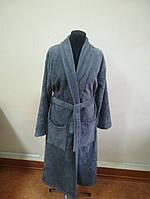 Махровый мужской халат темно серого цвета (XXL), фото 1