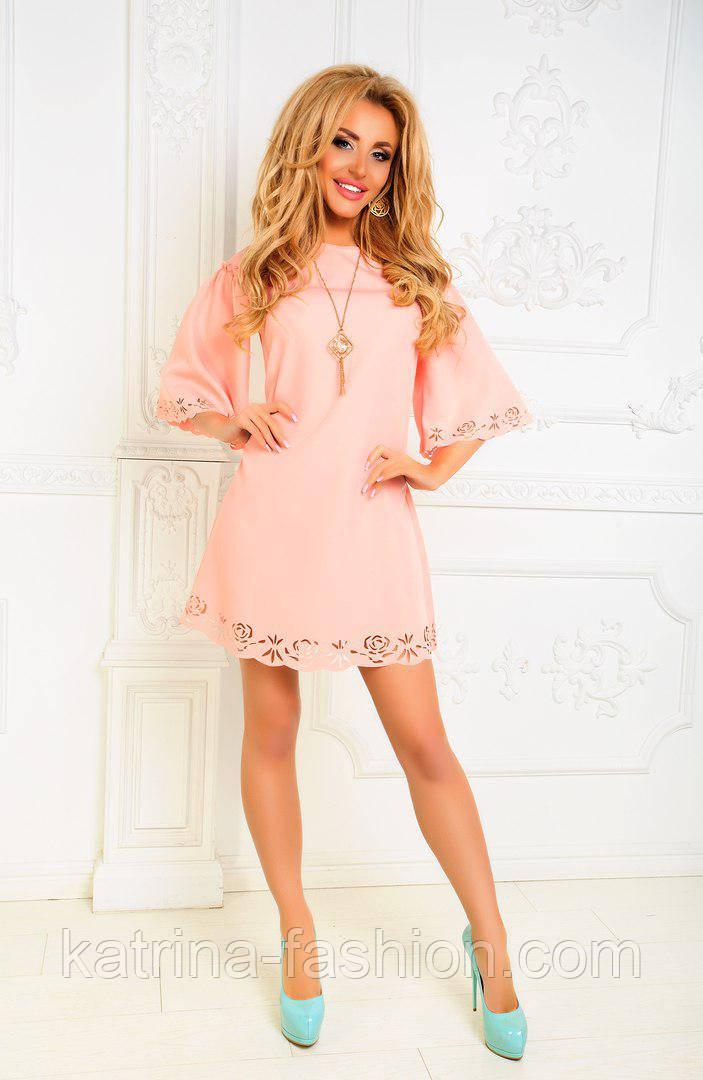 29796e7bf87f756 Женское красивое платье-трапеция с перфорацией (3 цвета): продажа ...