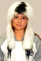 Шапка-вушанка жіноча з хутра чорнобурки натуральна.