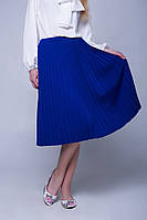 Теплая шерстяная вязаная юбка плиссе р.44-50, код 4683М