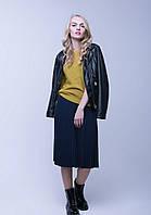 Теплая шерстяная вязаная юбка плиссе р.44-50, два цвета, код 4683М