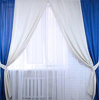 """Комплект готовых штор """"Лен"""",  2 шторы размером по 1.5*2,45м. Код е406"""