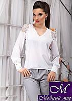 Красивая женская белая блуза с кружевом (р. S, M, L, XL) арт.12921